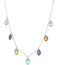 14K White Gold Necklace with Hanging Pear Shaped Gemstones 20 Inches