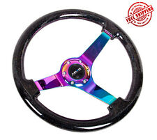 "NRG Steering Wheel 350"" 3"" Black Wood with Sparkled Flakes Neo Chrome Spokes"