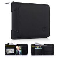 RFID Men's Leather Zipper wallet Zip Around Wallet Bifold with Multi Card Holder