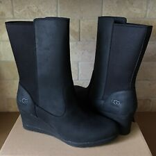 UGG Coraline Waterproof Black Leather Fur Wedge Short Boots Size 9.5 Womens