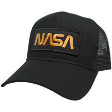 NASA Worm Gold Text Patched Mesh Trucker Baseball Cap - Free Shipping