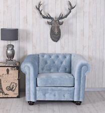 Chesterfield Poltrona Tv Kaminsessel Samtsessel Blu Ghiaccio Vintage Lounge