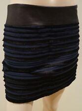 RAG & BONE Midnight Blue Black Velvet Fringe Ribbed Leather Waist Mini Skirt M