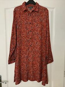 PRIMARK RED BLACK FLORAL DITSY LONG SLEEVE SHIFT A LINE SHIRT DRESS SIZE 10 NEW