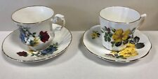Vintage Pair (2) ROYAL DOVER Tea Cup & Saucer Flowers Sweet!