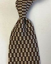 BASILE Italy Men's Necktie All Silk Hand Made Brown/White