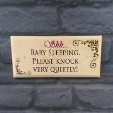 Shh Baby Sleeping Plaque / Sign / Gift - New Baby Door Notice Knock Quietly 416