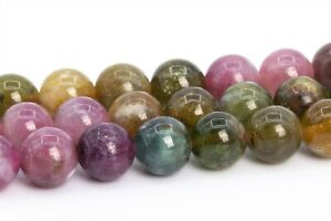 5-6MM Genuine Natural Multicolor Tourmaline Beads Grade AAA Round Loose Beads
