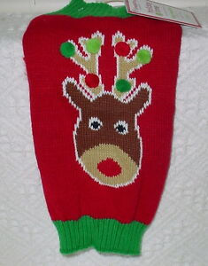 SIMPLYDOG** DOG SWEATER * RED GREEN AND WHITE * GREEN TRIM * NEW * CUTE *