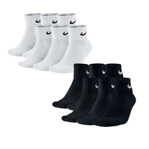 NIKE Cushion Quarter Sportsocken Dri-Fit Schwarz/Weiß S M L XL Sneakersocken NEU
