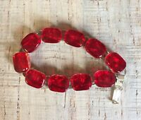 Beautiful deep Red Ice Fused Dichroic Art Glass Jewelry Link Bracelet  7 3/4''