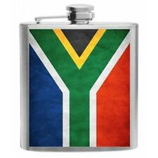 South Africa Flag Stainless Steel Hip Flask 6oz