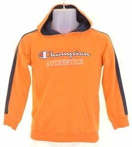 CHAMPION Boys Hoodie Jumper 9-10 Years Medium Orange Cotton KN07