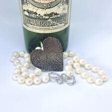 Sterling Silver Large Hammered Heart and Freshwater Pearl Handmade Necklace