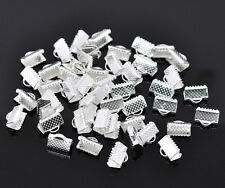 200 Silver Plated Textured End Caps Crimp Beads 10x8mm