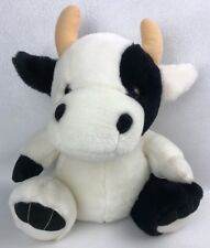 Cow Bull Plush Sitting Black And White With Horns
