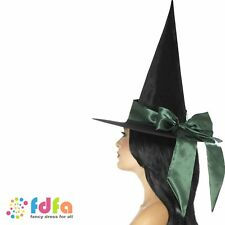 BLACK DELUXE WITCH HAT WITH GREEN BOW Womens Ladies Fancy Dress Accessory