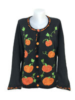 Quacker Factory Halloween Sweater Beaded Cardigan Pumpkin Patch Size 1X S2
