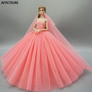 Coral Doll Dress For Barbie Doll Clothes Outfit Evening Party Gown Wedding Dress