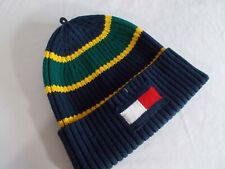 NWT Tommy Hilfiger BAZZ BEANIE Cotton Knit Cap DK BLUE MULTI Cuff ADULT OS  $40
