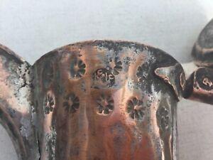 RARE 29 cm Antique  Dallah HALLMARK Copper islamic pattern Coffee Pot Bedouin