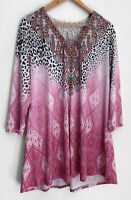 SEVEN SISTERS gorgeous Long Sleeve Crochet Print Top Tunic Size 6 16 18