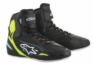 Alpinestars Faster-3 Black Yellow Fluo Light Blue Motorcycle Shoes