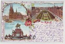 Litho Gruss aus Köln  1901  coloriert  Dom Kaiser Denkmal