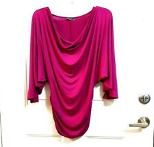 Vintage Body Central S Pink Purple Drape Neck Dolman Batwing Sleeves Ruched Top
