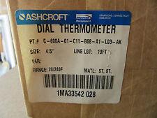 "Ashcroft C-600A-01-C11-B08-A1-L03-AK Dial Thermometer 20/240F 4-1/2"" X 10' NEW!!"