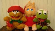Muppets Babies KERMIT, Miss PIGGY, FOZZY BEAR Plush Vintage 1987 Collectibles