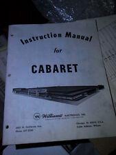 Pinball Cabaret Original Manual Williams Flipper inc schematics & cat parts RARE