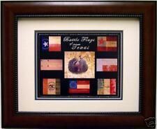 Texas Battle  Flag  Print Mahogany Frame