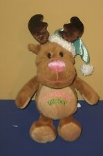 "10"" Christmas Wishes Baby Reindeer Stuffed Plush Animal w/ Baby Blue Santa Hat"