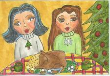 CHRISTMAS COFFEE GIRL TREE TURKEY DINNER PRIMITIVE FOLK ART MINIATURE PAINTING