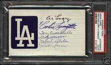 Signed HOF Index cd Dodgers Walt Alston, Al Lopez, Billy Herman PSA/DNA slabbed