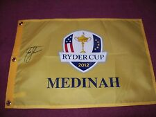 ZACH JOHNSON SIGNED 2012 RYDER CUP PIN FLAG W/COA
