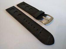New Geckota 22mm Genuine Leather Black Classic Rally Vintage Watch Strap...