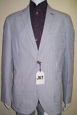 56R Seersucker Blazer 100% cotton Summer Tracking Striped PAUL FREDRICK Jacket