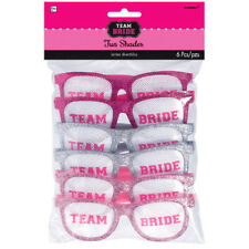 BACHELORETTE PARTY Team Bride GLITTER GLASSES (6) ~ Wedding Bridal Supplies Pink