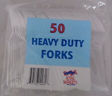 50 x Heavy Duty Clear Plastic Cutlery Forks Royal Markets Disposable  NEW
