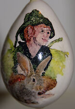 gourd Christmas ornament or yard art with fairy / sprite and bunny
