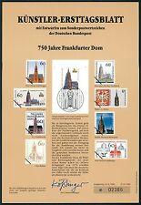 BUND KÜNSTLER-ETB 1989/21 FRANKFURT DOM KÜNSTLER-ERSTTAGSBLATT LTD. EDITION