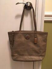 COACH GALLERY Gold Metallic Leather Signature Purse Handbag Tote $349