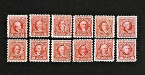 1954 Documentry Stamps Used & Unused 1c-80c.