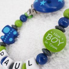 Schnullerkette mit Namen ★New BOY in Town★ Lok Zug blau grün Junge Babygeschenk