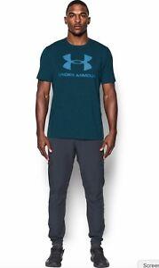 Under Armour * UA Charged Cotton Sportstyle Logo T Shirt Heatgear Blue Men