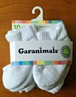 GARANIMALS Toddler Ankle Socks 10-PACK - WHITE - 6-18 MONTHS - FREE SHIP