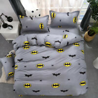 Batman 2/3pcs Gray Duvet Cover Set Twin Queen King Size Bedding Set US
