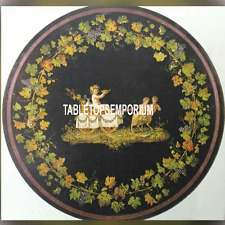 "30"" Black Custom Made Marble Round Table Top Grapes Inlay Hallway Living Decor"